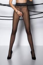 Collants ouverts TI001 - noir : Collants ouverts à l'entre-jambes en voile noir, avec une large ceinture dentelle.