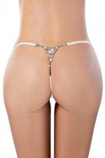 String blanc avec strass - Paris Hollywood : Avec ce string blanc très sexy, associez lingerie coquine et bijoux strass pour vous rendre encore plus désirable.