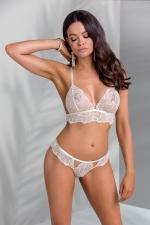 Ensemble bikini Inoe : Ensemble lingerie culotte et soutien-gorge écru, en tulle brodé de riches motifs cachemire blanc et vieux rose.