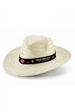 Chapeau Jacquie et Michel : Chapeau de type Havane en paille naturelle, personnalisé aux couleurs de la Team J&M.