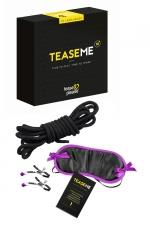 Jeu coquin TeaseMe : Jeu pour adultes spécial domination et soumission contenant 6 cartes défis détaillées et 3 accessoires de bondage.