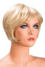 Perruque Daisy blonde : Perruque blonde aux cheveux courts en carré moderne à la nuque dégradée.