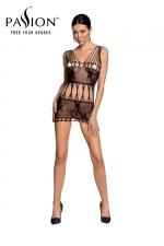 Robe nue résille BS090 - Noir : Robe en résille noire motif papillon de la marque Passion.